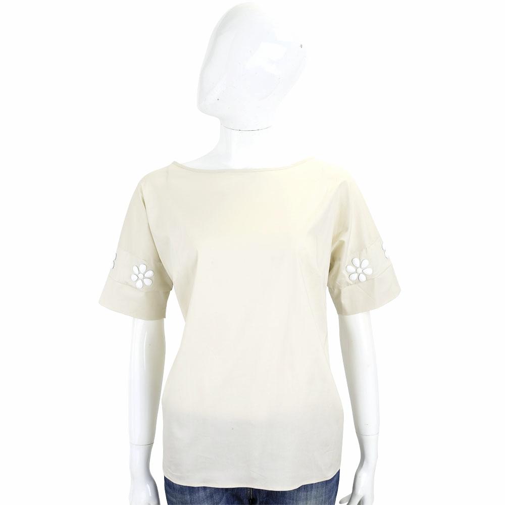 ROCCO RAGNI 卡其色花飾設計短袖棉質上衣