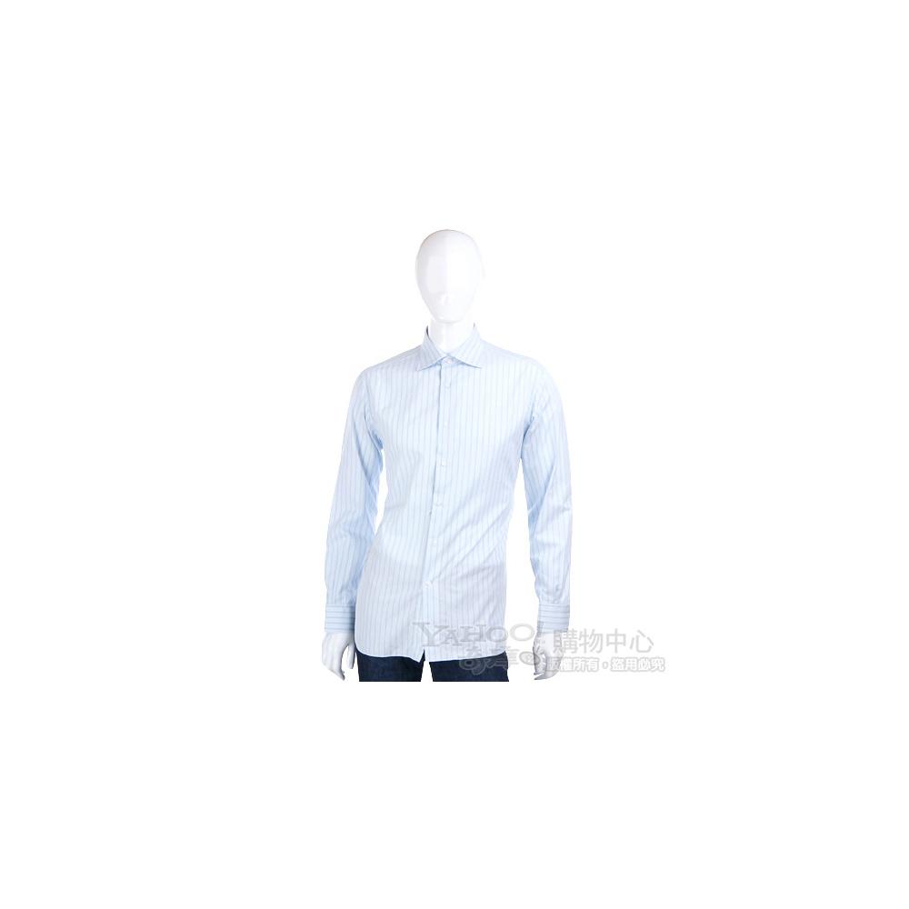 Ermenegildo Zegna 水藍色條紋長袖襯衫