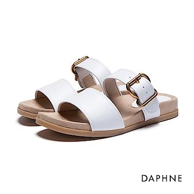 達芙妮DAPHNE 涼拖鞋-寬版雙帶平底涼拖鞋-白