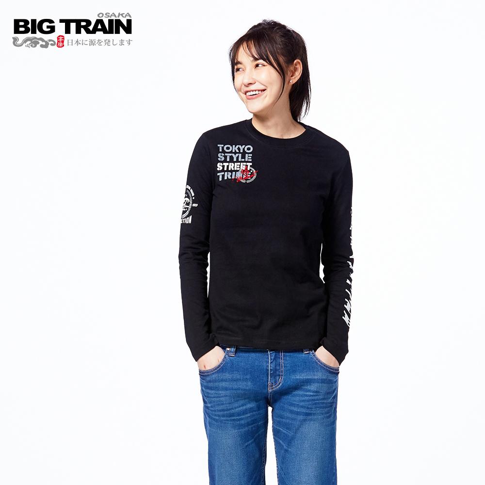 BIG TRAIN 硬派單寧長袖-女-黑
