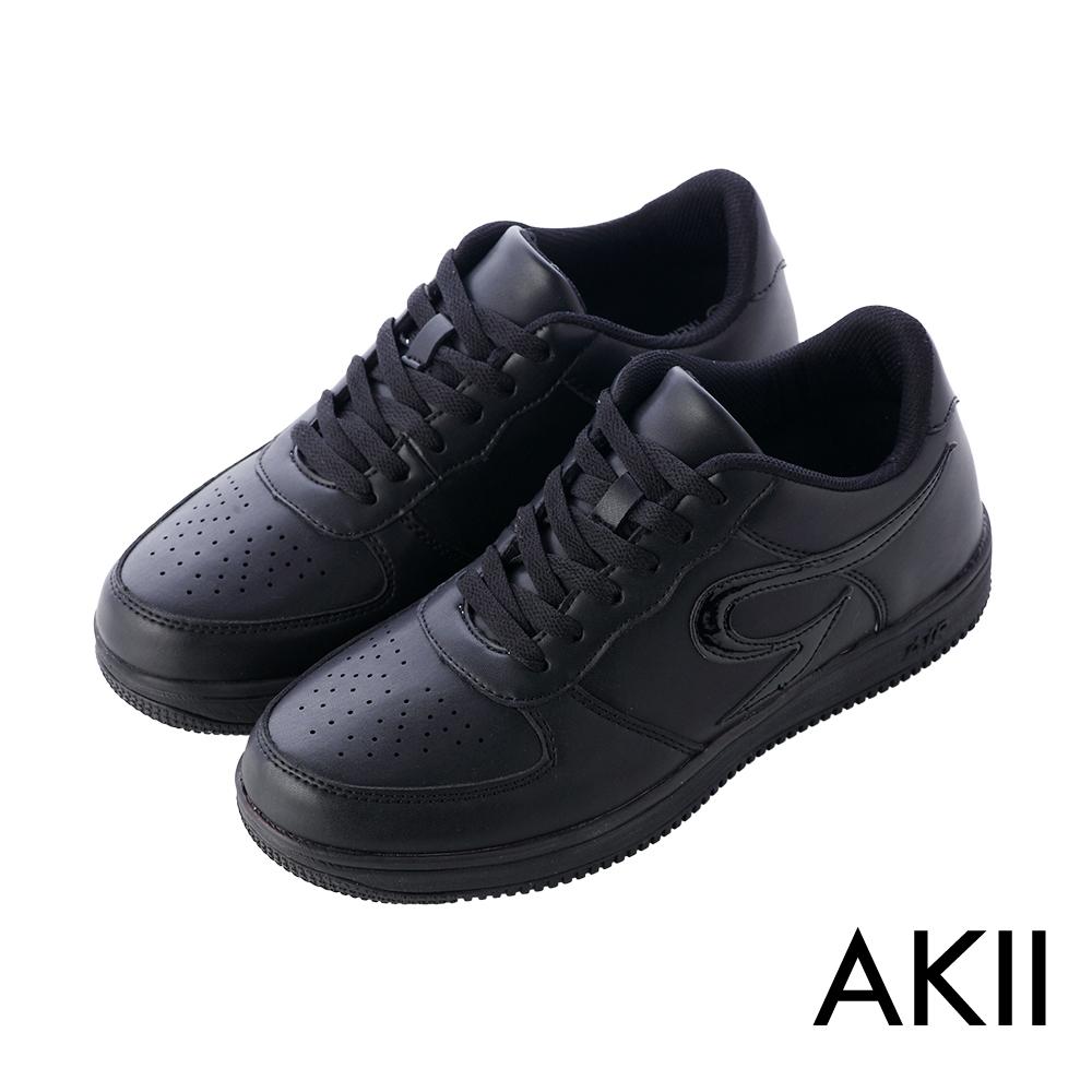 AKII韓國空運‧皮感素面百搭男款內增高休閒鞋-黑