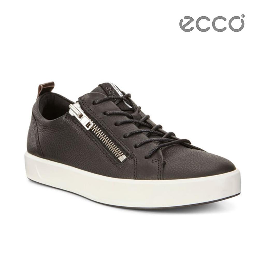 ECCO SOFT 8 MEN'S 側拉鍊簡約休閒鞋-黑