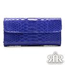 2R 珍稀蟒蛇皮 限量訂製三摺長夾 深海藍