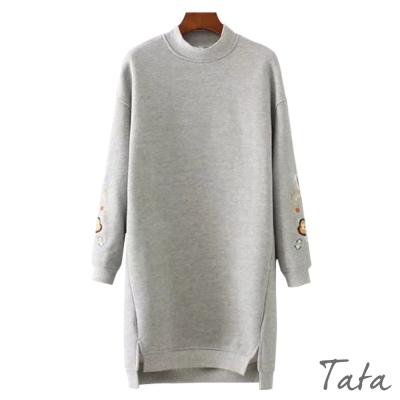 刺繡不規則下擺薄絨洋裝 TATA