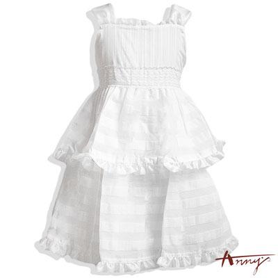 甜美大荷葉條紋蛋糕雙層洋裝*4109白
