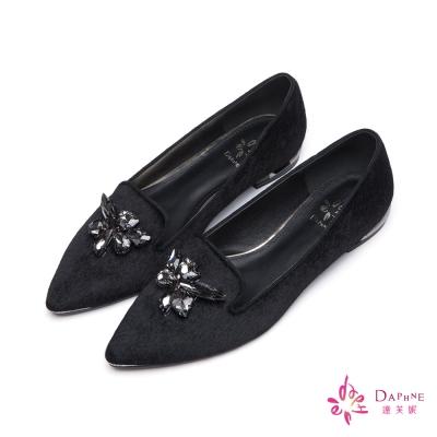 達芙妮DAPHNE-平底鞋-水鑽寶石馬毛樂福鞋-黑