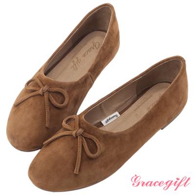 Grace gift-全真皮蝴蝶結平底娃娃鞋 棕