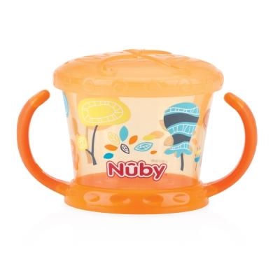 Nuby 防漏零食盒-橘(幾何)(12M+)