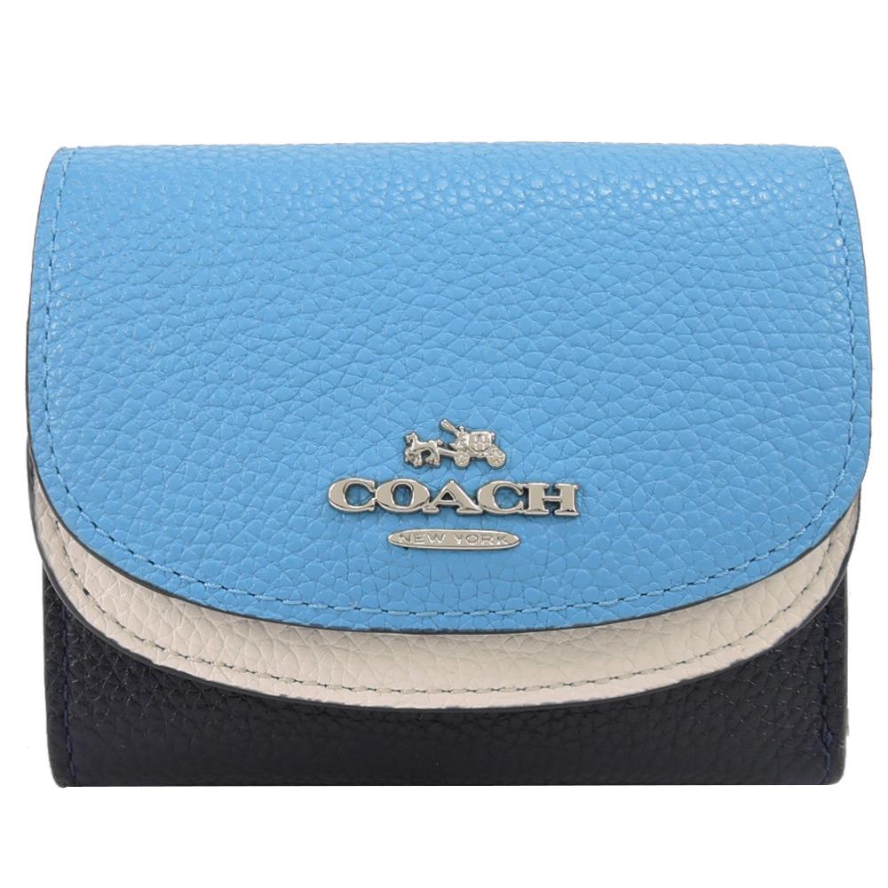 COACH 新款雙翻蓋三折荔枝皮短夾(白藍)COACH