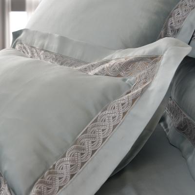 義大利La Belle 雙人天絲蕾絲防蹣抗菌吸濕排汗兩用被床包組-法蘭克