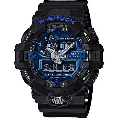 CASIO卡西歐 G-SHOCK 金屬系雙顯手錶-藍x黑