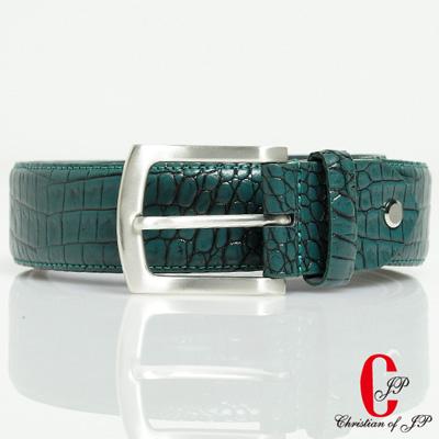 Christian  輕熟品味鱷魚紋頭層牛皮帶_藍綠_YPC055