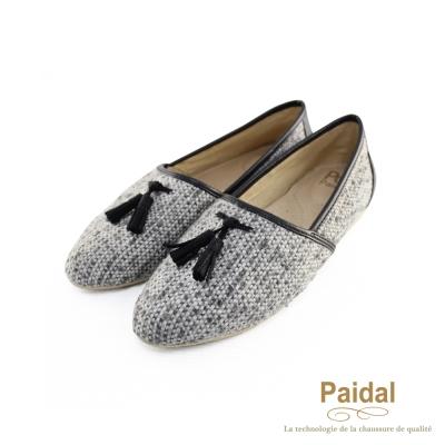 paidal-針織拼接皮革流蘇尖頭鞋包鞋-黑