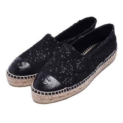 CHANEL經典Espadrilles羊皮小香LOGO毛呢X亮片厚底鉛筆鞋(黑)