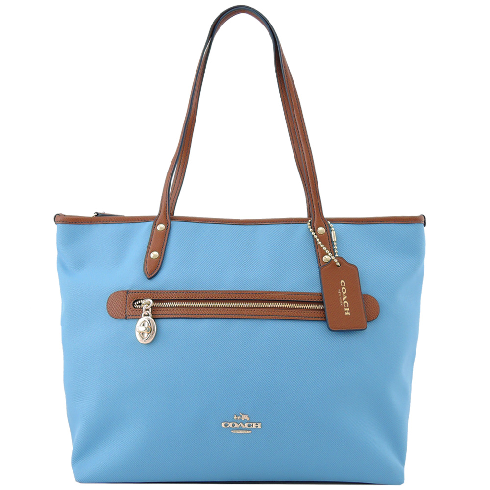 COACH 馬車LOGO素色織布前拉鍊托特包(水藍)COACH