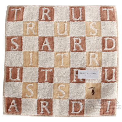 TRUSSARDI 立體字母雙色格棉質方巾-駝