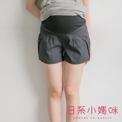 日系小媽咪孕婦裝-孕婦褲~細直紋蝴蝶結造型口袋休閒短褲 L-XL (共二色)