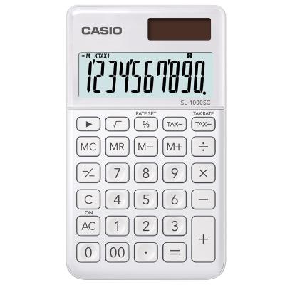 CASIO 10位元時尚霧面系列攜帶型計算機(SL-1000SC-WE)-珍珠白