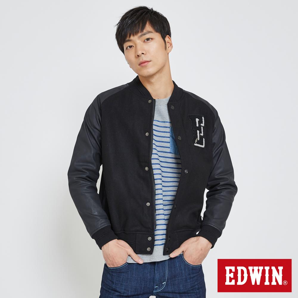 EDWIN 毛呢棒球外套-男-黑色