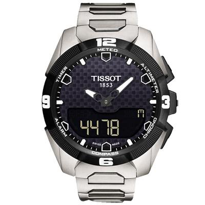 TISSOT T-TOUCH EXPERT SOLAR 鈦金屬太陽能觸控腕鍊帶腕錶-黑/45mm