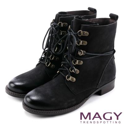 MAGY 粗曠中性帥氣 柔軟牛皮拉鍊綁帶軍靴-黑色
