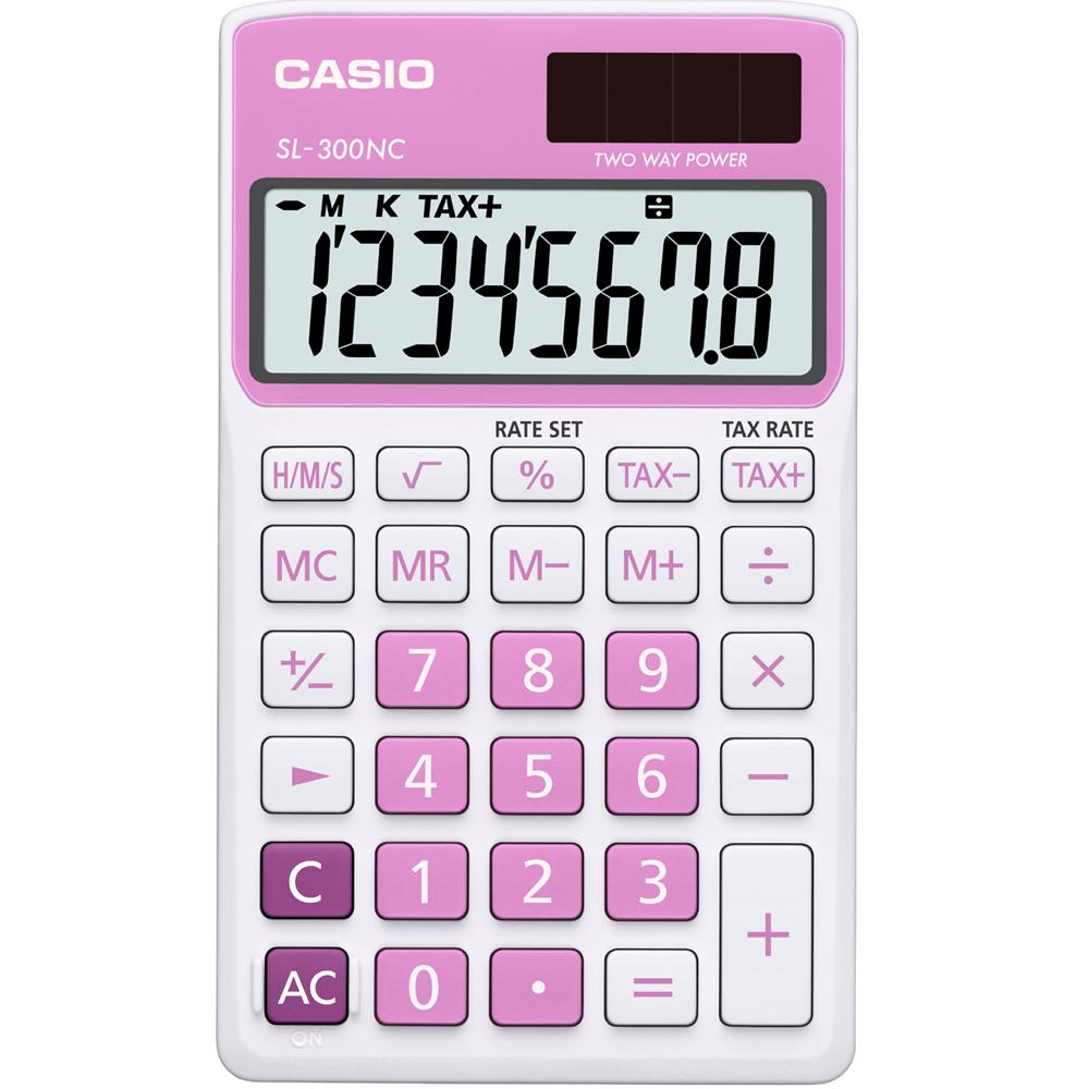CASIO 8位數商務時尚輕巧攜帶型計算機(SL-300NC-PK)白/粉紅色