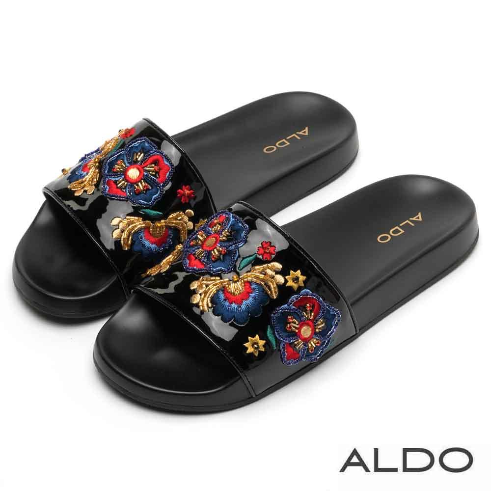 ALDO 原色寬版鞋面刺繡繁花串珠懶人休閒鞋~富麗繁花