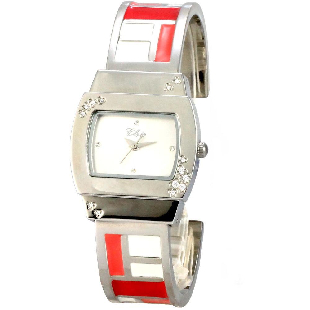 Cloie  彩色方塊甜心時尚手腕錶-紅白橘/28mm