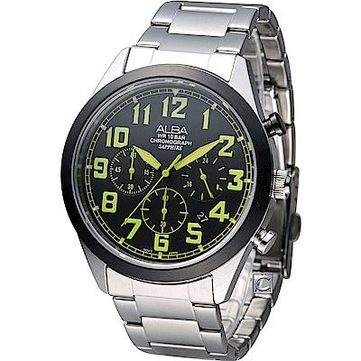 ALBA 玩樂撞色計時腕錶(AT3595X1)黑x綠/ 44mm