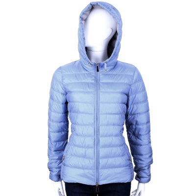 MARELLA 水藍色車縫設計連帽鋪棉外套