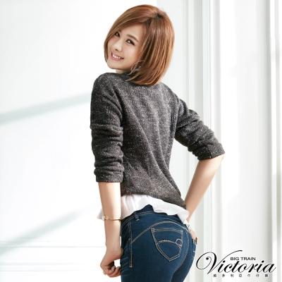 Victoria 假兩件式組合花紗長袖T-女-黑灰紗