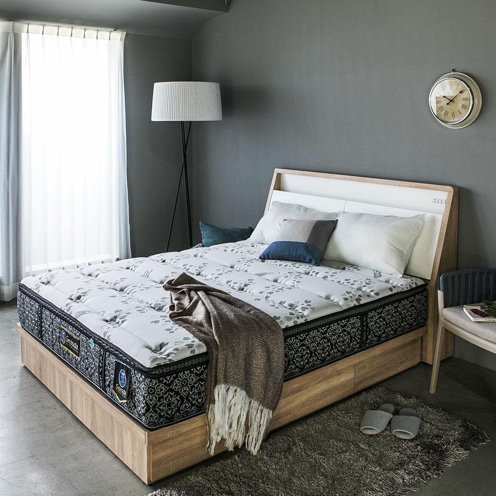 HomeMeet 喜事達02型-COOLMAX三線護邊透氣獨立筒床墊-雙人加大6尺