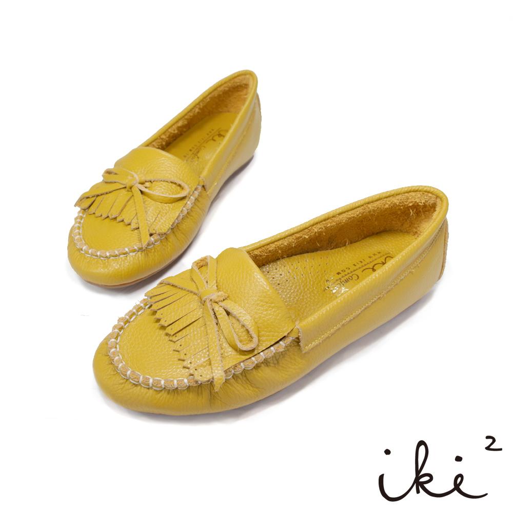 iki2 真皮親膚莫卡辛豆豆平底鞋-黃