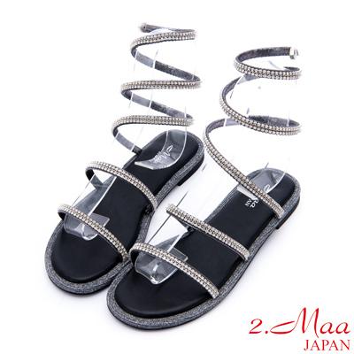 2.Maa-激瘦感羅馬水鑽貼飾高環帶涼鞋-銀