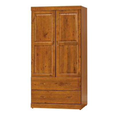 簡約風Aileen玉桂實木3x6尺(雙門雙抽衣櫥/衣櫃)-87x60x174cm
