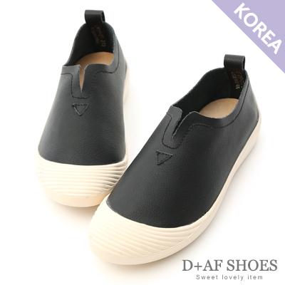 D+AF 自在穿搭.超軟牛皮U口懶人鞋*黑