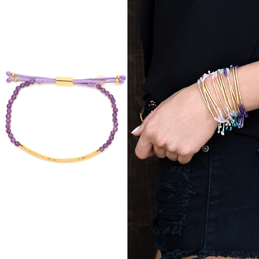 GORJANA POWER GEM 平衡骨 金墜 紫水晶手鍊 可調式手圍 專注力療癒啟發