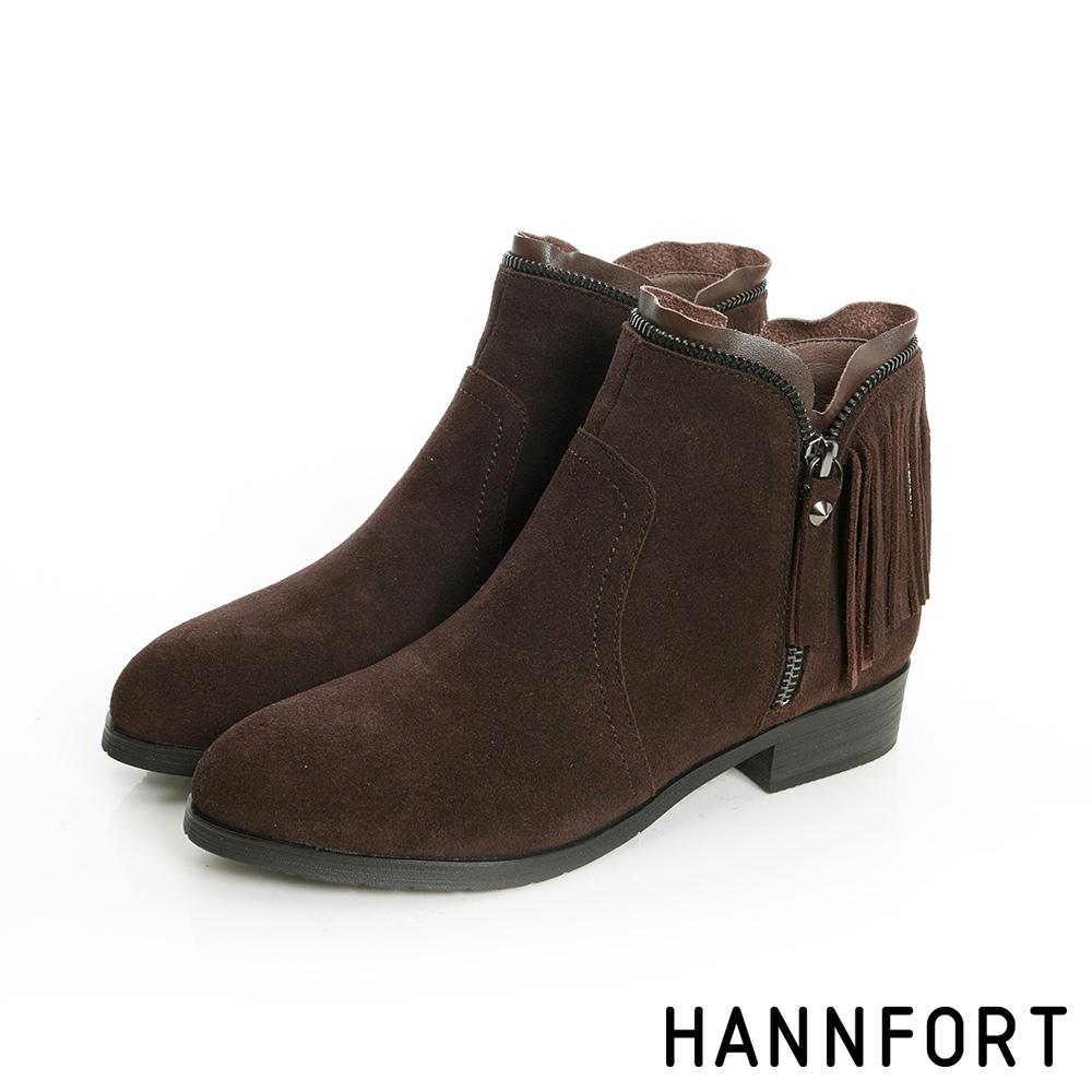 HANNFORT ALEXA中性優雅V鏈低跟踝靴-女-典雅棕8H