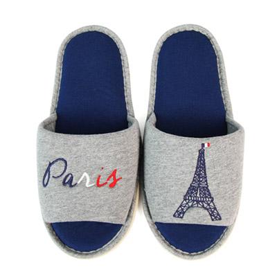 Yvonne Collection巴黎開口室內拖鞋-暗灰L