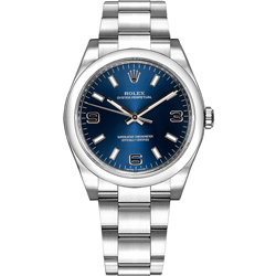 ROLEX 勞力士 114200蠔式女錶 藍面時刻369數字-34mm