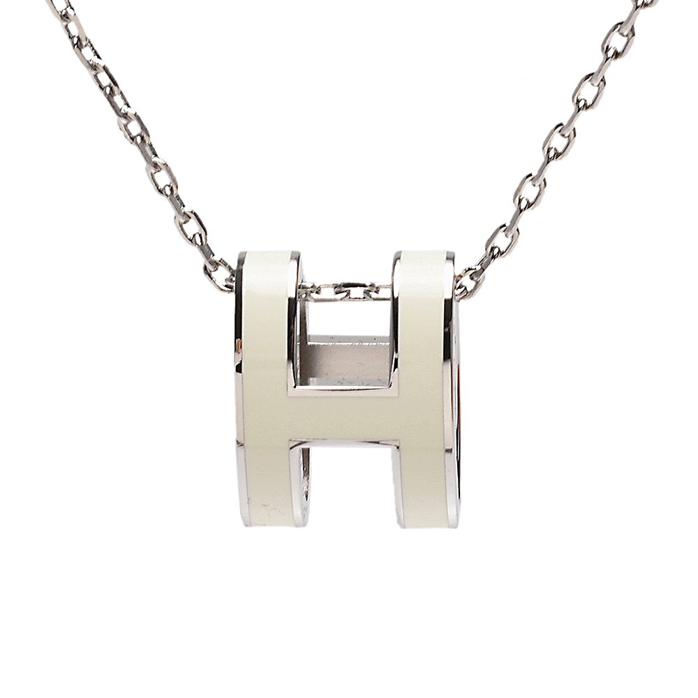 HERMES 經典Pop H立體簍空橢圓LOGO項鍊(象牙白X銀)
