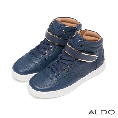 ALDO-幾何網眼金屬微笑高筒拉鍊運動鞋-海軍藍色