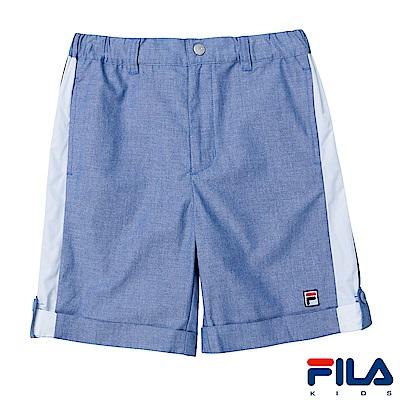 FILA KIDS 男童平織短褲-藍1SHS-4404-BU