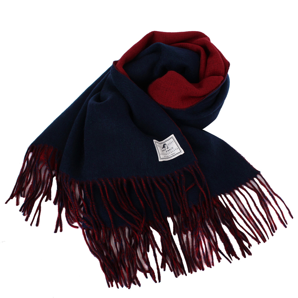 agnes b-SPORT b.白標logo流蘇雙面大披肩圍巾紅&藍