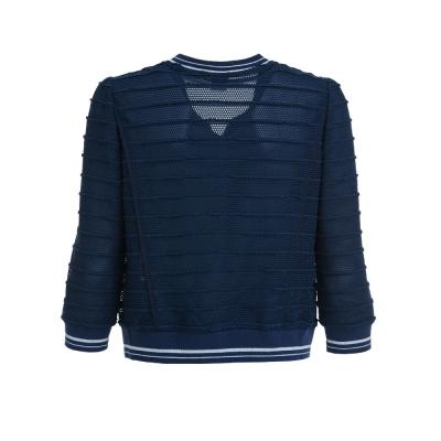 OUWEY歐薇-立體網布針織短版外套-藍