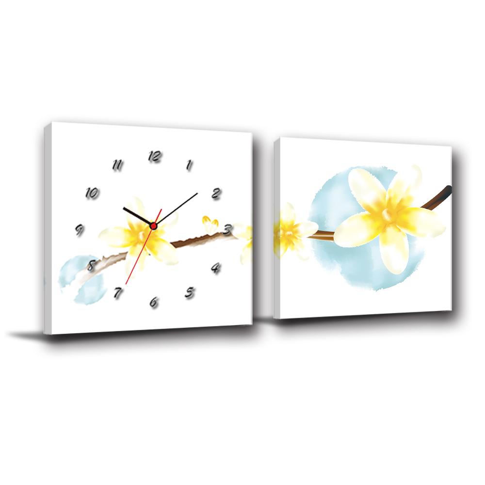 24mama掛畫-二聯客製化掛飾壁鐘時鐘畫框無框畫藝術掛畫-油桐-50x50cm