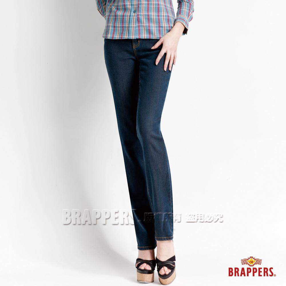 BRAPPERS 女款 新美腳Royal系列- 女用中腰天絲棉直統褲-藍