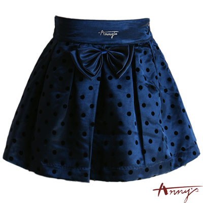 Anny植絨點點大蝴蝶結短裙*2210藍