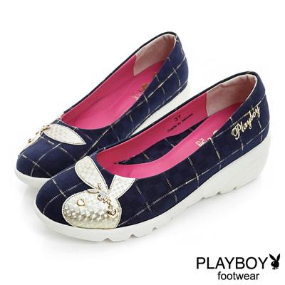 PLAYBOY 英倫時尚 GOPLAY格紋楔型娃娃鞋-藍(女)