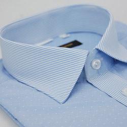金‧安德森 白點藍細紋變化領紋窄版短袖襯衫